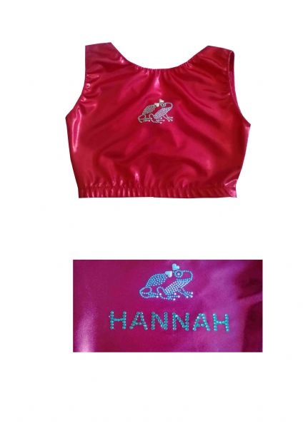 EARL408 Plain and Personalised Metallic and Velour Crop Tops With Frog Motif DISCOUNTED PRICE FROM £9.50